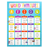 Renewing Minds, Word Families Chart, 17 x 22 Inches, Multi-Colored, 1 Each
