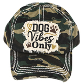 K&B Trading, Dog Vibes Only, Vintage Adjustable Cap, Green Camo