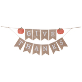 Give Thanks Pennant Pumpkin Banner, Fabric, 32 inches