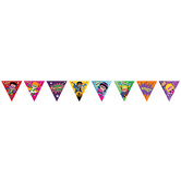 Superheroes Collection, Pennant Banner, 12 feet long with 16 individual 11 inch Flags, Multi-colored