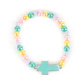 Faith Spark, Cross Beaded Stretch Bracelet, Glass and Zinc Alloy and Plastic, Turquoise, 7 Inches