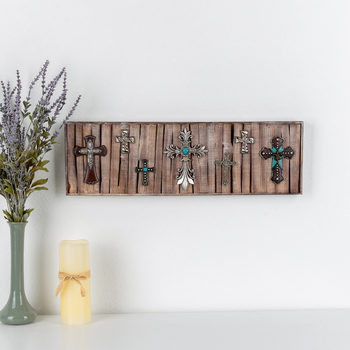 Western Crosses on Wood Pallet Wall Art, Wood and Resin, 23 3/8 x 7 1/4 x 1 1/4 inches