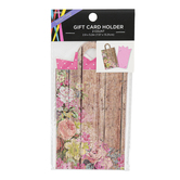 Brother Sister Design Studio, Floral Plank Bag Gift Card Holder, Brown & Pink, 3 x 5 1/4 inches