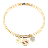His Truly, Hebrews 4:26 His Grace Is Enough Bangle Bracelet Set with Charms, Zinc Alloy, Gold
