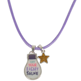 Glitter and Grace, Matthew 5:16 Let Your Light Shine Cord Necklace, Purple and Silver, 16 inch Cord