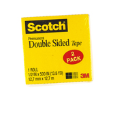 Scotch, Permanent Double-Sided Refill Rolls, .50 x 500 Inches, Transparent, Pack of 2
