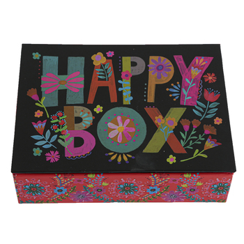 Natural Life, Colorful Letters Happy Box, 6 1/4 x 5 x 1 3/4 Inches