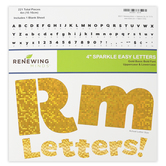 Renewing Minds, Gold Sparkle Bulletin Board Letters, Upper and Lowercase, 4 Inches, Gold, 221 Pieces