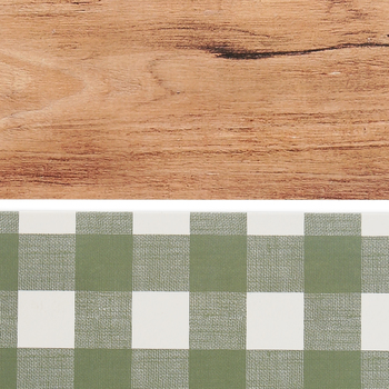 Farmhouse Lane Collection, Wide Double-Sided Border Trim, 38 Feet, Sage Gingham and Warm Wood