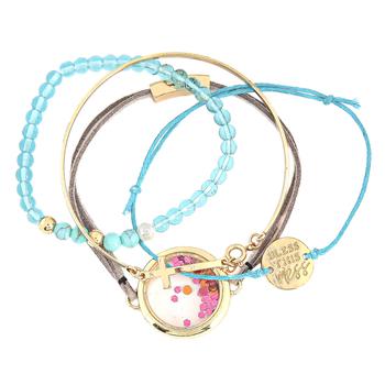 Modern Grace, Psalm 19:14 Bless This Mess Bracelet Set, Zinc Alloy, Gold, Set of 4