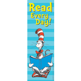 Eureka, Dr. Seuss Cat in the Hat Read Every Day! Bookmarks, 2 x 6 Inches, Blue, Pack of 36
