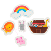 Playside Creations, Noah's Ark Lacing Cards, Multi-Colored, 3-5 x 3-8 Inches, 5 Cards