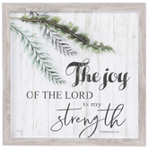 Nehemiah 8:10 The Joy Of The Lord Framed Wall Decor, Wood and Glass, Gray, 14 x 14 x 1 1/4 inches