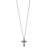 Faithful and Fabulous, Cross Bling Necklace, Zinc Alloy and Iron, Silver, 20 Inch Chain