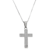 Spirit & Truth, 2 Corinthians 5:7, Walk By Faith Pave Stone Cross, Women's Necklace, Stainless Steel, 18 Inches