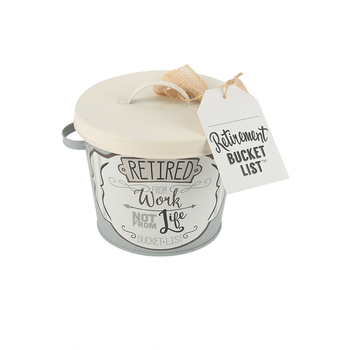 Young's, Inc., Retirement Bucket List Tin, Galvanized Metal, 5 inches