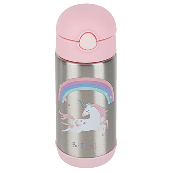 Stephen Joseph, Unicorn Water Bottle, Stainless Steel, Pink & Silver, 11.8 ounces