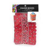 Western Party Red Bandana Favor Boxes, 3 x 3 x 4 Inches, 10 Count