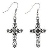 Modern Grace, Ornate Cross Dangle Earrings, Zinc Alloy, Antique Silver