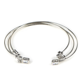 Faithful and Fabulous, Cross Wire Bracelet Set, Brass and Cubic Zirconia, Silver, 3 Pieces