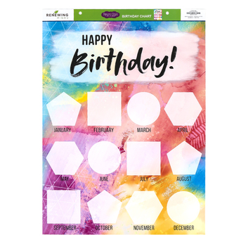 Retro Chic Collection, Customizable Happy Birthday Chart, 17 x 22 Inches, Multi-Colored, 1 Piece