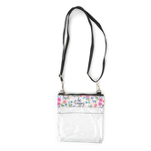 Brownlow Gifts, Be Happy Clear Crossbody Bag, 7 x 8 inches