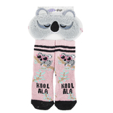 Girls Koala Cozy Eye Mask and Sock Set, Polyester, Pink and Gray, 2 Pieces