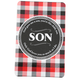 Dicksons, Plaid Pocket Card for Son, Plastic, Red, Black, and White, 2 1/2 x 4 inches