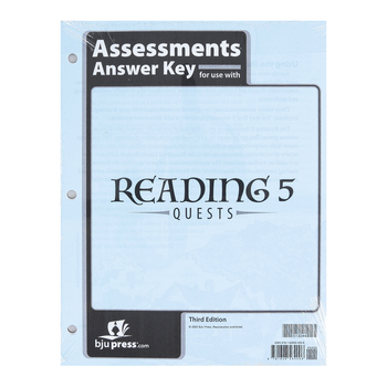 BJU Press, Reading 5 Assessments Answer Key, 3rd Edition, Grade 5