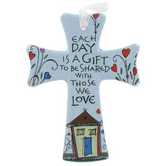 Mini Cross, Each Day is a Gift Ceramic Hanging Cross, Blue, 5 x 4 inches