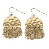 His Truly, Half Circle Disk with Tassel Earrings, Zinc Alloy, Satin Gold