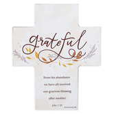Renewing Faith, John 1:16 Grateful Chunky Cross, Wood, 5 x 6 x 1 inches