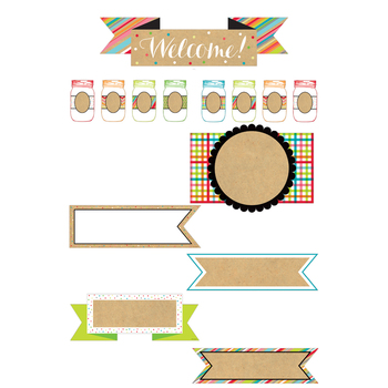 TooCute Collection, Welcome and Blank Signs Bulletin Board Sets, 38 Pieces