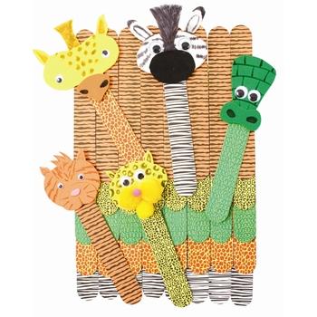 Roylco, Wild Animal Craft Sticks, 1 x 7 inches each, Set of 50