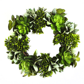 Bella Vita, Artificial Succulent Wreath, Plastic, Green, 11 Inches