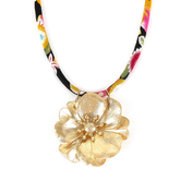His Truly, Flower on Fabric Cord Necklace, Zinc Alloy, Matte Gold, 16 Inch Cord