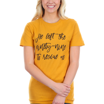Crazy Cool Threads, He Left the Ninety-Nine, Women's Short Sleeve T-Shirt, Mustard, Large