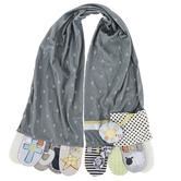 Demdaco, Mommy and Me Faith Activity Scarf, Polyester and Plastic, Gray, 52 x 9 1/2 Inches