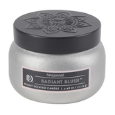 Darsee & David's, Radiant Blush Tin Candle, Silver and Black, 3.98 ounces