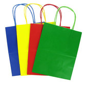 Medium Kraft Gift Bags, Primary Colors, 12 count