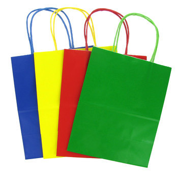 Medium Kraft Gift Bags, Primary Colors, 12 count
