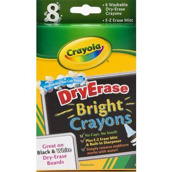 Crayola, Washable Bright Dry-Erase Crayons, Assorted Colors, 8 Count