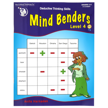 Critical Thinking Company, Mind Benders Level 4 Book, Reproducible Paperback, 48 Pages, Grades 3-6