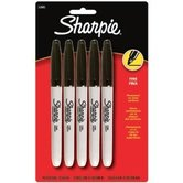 Sharpie, Permanent Markers, Fine Point, Black, Pack of 5