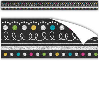 Teacher Created Resources, Clingy Thingies Chalkboard Brights Straight Border Trim, 13 Feet, Multi-Colored