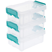 Three Mini Stackable Storage Containers, Clear & Turquoise, 3 1/4 x 4 3/4 x 2 inches