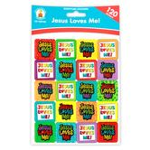 Carson-Dellosa, Jesus Loves Me! Scripture Stickers, 1 x 1 Inch, Multi-Colored, Pack of 120