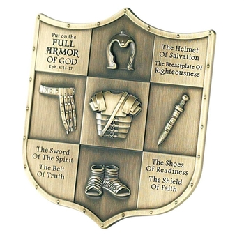 Dicksons, Armor of God Table Plaque, Metal, Antique Brass Finish, 3 5/8 inches