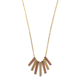 Modern Grace, Philippians 4:13 Dangling Bars Necklace, Gold and Bronze, 20 Inches