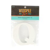 Woodpile Fun, Stand Alone Letter-Q, White, 3 Inches, 1 Piece
